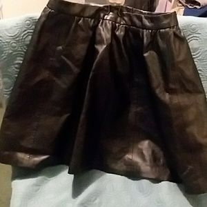 H&M Divided Black Leather hi-waist flare miniskirt